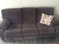 Double reclining couch. 3 yrs old. velvety soft!