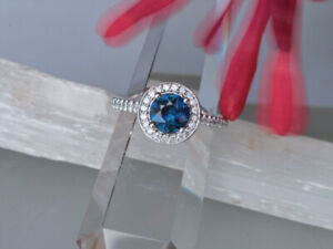 Custom Made - Halo style Blue Sapphire Engagement Ring - Size 7