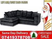 NEW STYLE OFFER 65% OFF CRUSH VELVET 3+2 SEATER CORNER FABRIC SUITE SOFA IN DIFFERENT COLOR