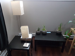 IKEA Coffee, side table and two lamps & two LACK shelves