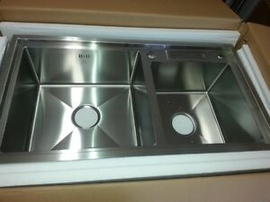 BRAND NEW, HAND MADE 11 GAUGE SS304 DBL KITCHEN SINK W/KNIFE...