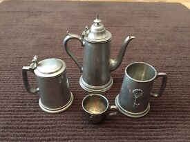 Vintage Sheffield hand crafted pewter set pot tankard 21 cup & baby cup