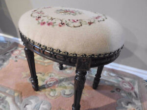 antique oval bench seat, needlepoint & pettipoint, carved frame