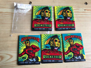 5 VINTAGE PACKS OF THE ROCKETEER CARDS IN ORIGINAL WAX WRAPPERS