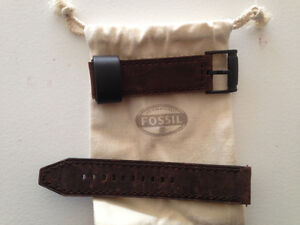 Fossil brown leather strap