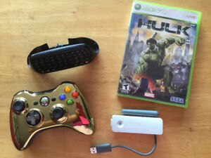 X360: Manette Gold, Tchatpad, Chargeur, Wifi, Hulk, Kinect…