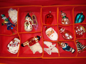 13 Very Large Vintage Glass and other Christmas Ornaments
