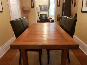 Chinese Elm table with bench and 4 chairs