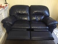 BLUE REAL LEATHER 2 SEATER RECLINER SOFA FREE DELIVERY