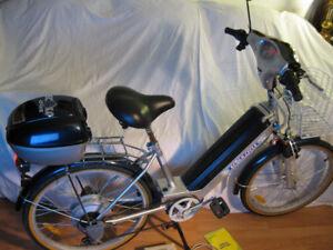 Vélo Écolocycle 36 Volts état Neuf Bleu et Argenté Tout équipé