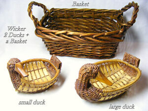 2 duck wicker baskets in larger handled baskets, all 3 for $35