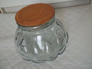 a big & heavy clear 'greenish' glass jar