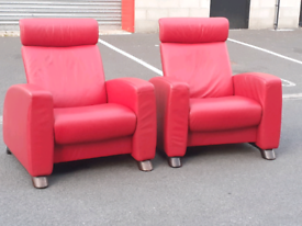 Pair of Red Leather STRESSLESS Chairs