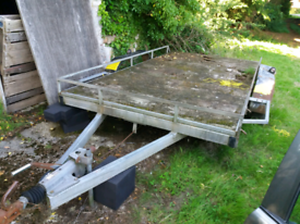 4 wheeled flat bed galvanised trailer needs refurbishment