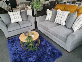 NEW Grey 3 + 2 + 1 Seater Sofa Suite Grey Fabric DELIVERY AVAILABLE