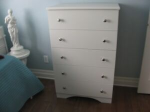 COMMODE BLANCHE 5 TIROIRS