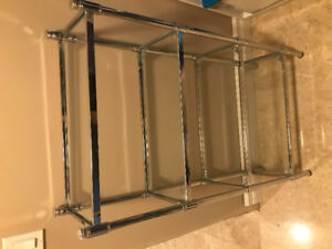Glass shelves with matching towel holder