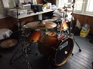 Full drum set + cases for sale