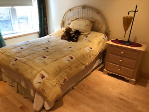 Complete bedroom set with night table and lamp