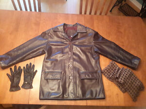 Manteau de cuir véritable femme / Genuine leather ladies jacket