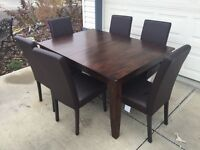 Solid Wood Rustic Table/Butterfly Leaf/Chairs