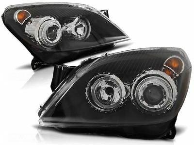 VAUXHALL ASTRA H MK5  2004-2010 BLACK ANGEL EYES HALO HEADLIGHTS PAIR