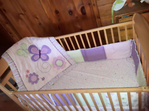 Baby girl 3 piece Butterfly Crib Set