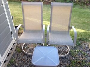 2 swivel chairs and patio end table set