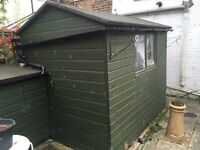Solid 8X6 ft apex roof shed with base.