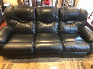 LazyBoy Black Leather Recliner Sofa