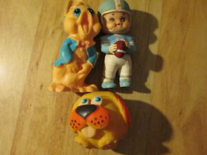 IWAI Industrial Squeak Toy Lot Japan Vintage Football Player Dog