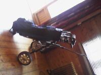 a set of 19 golf clubs, bag and pull along caddy £40