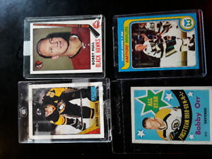 4 old hockey cards