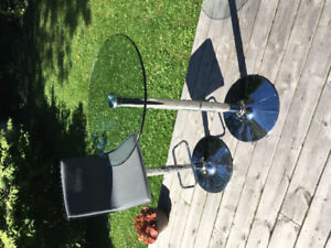 Modern Chrome and Glass small hightop table and chair