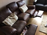 3 seater recliner leather sofa for sale