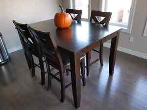 Bar height, solid wood dining set