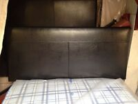 New double black leather headboard