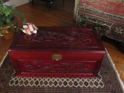 Oriental Carved Chest Blanket Box Coffee Table Rosewood