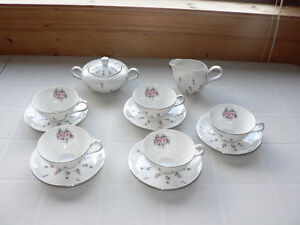 5 Cups/Saucers with Sugar Bowl and Creamer