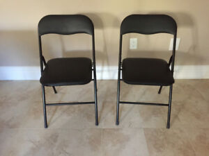 2 Foldable Metal/Leather Chairs