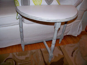 Two Antique Demi Lune Tables Rejuvenated ( price for both ) London Ontario image 2
