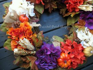 Autumn Hydrangea Wreath/Plum/Burnt Orange/Fall Decor Belleville Belleville Area image 4