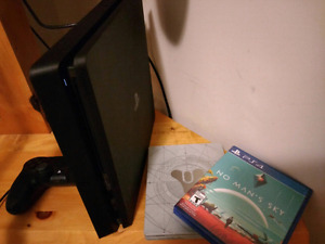 Ps4 slim with controller, no mans sky, destiny steelbook and box