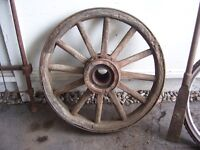 Antique wood and steel wagon wheel