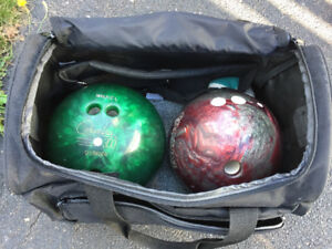 2 Bowling balls ( 16 lbs. each) with case