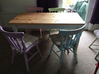 Gorgeous solid farmhouse style table with chairs