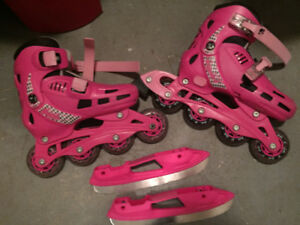 Roller blade 3 roue et roller blade / patin a glace ajustable