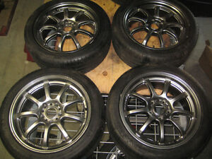 225/45/17 MICHELIN TIRES GRAM LIGHTS 5X114.3 17X71/2 MAGS OFF+50