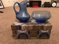 Vintage Portugal Glass Milk Jug & Sugar Bowl