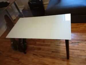 Frosted Glass Table with Adjustable Legs